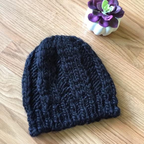 578df018392 Calvin Klein Accessories - CK Black metallic thread knit beanie hat. NEW!